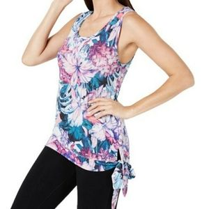 Ideology Hibiscus Side Tie Tank Top Size M…